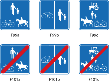 Par un arrêté de police et le placement des panneaux F99 et F101, l'autorité gestionnaire peut limiter l'usage d'un chemin à certaines catégories d'usagers