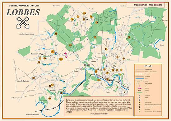 Carte de la commune de Lobbes éditée par les G'Lobbes Trotters en 2009