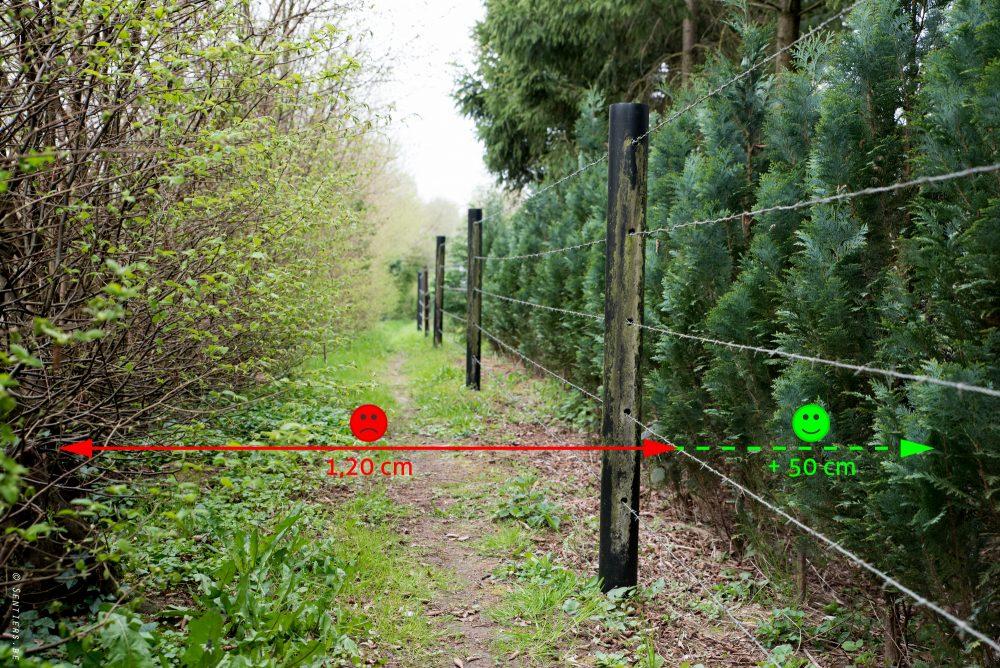 La clôture placée au ras de ce sentier au centre du village de Nalinnes peut mener à de graves conséquences en cas de chute ou même de simple frôlement.